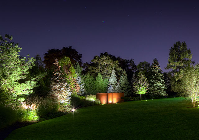 professionally installed lawn lighting